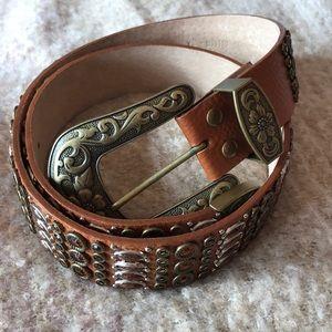 Vintage 100% Italian leather jeweled belt